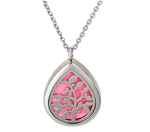 The Soul Vacation Essential Oil Diffuser Necklace Aromatherapy Pendant Teardrop Olive Tree Jewelry Bag and Extra Pads