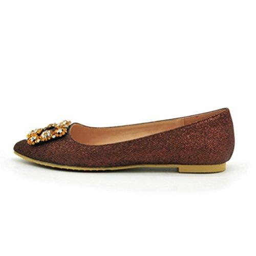 XIE Zapatos de las mujeres acentuados Talón plano Boca baja Rhinestone Zapatos individuales Primavera Otoño Confort básico para Casual gold