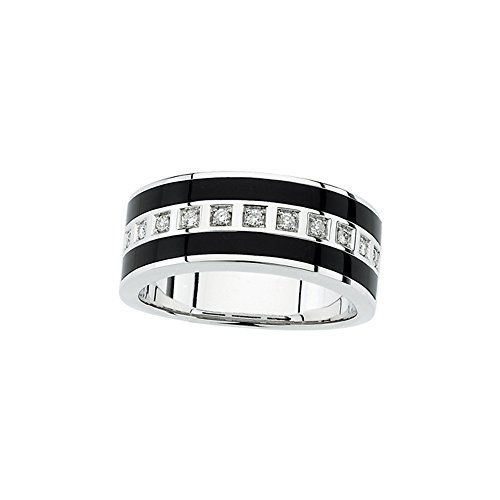 14K White Gold 1/5 ct. Diamond and Onyx Men's Ring