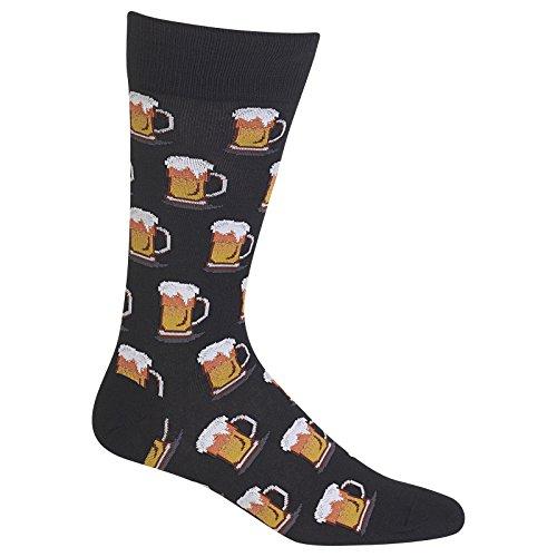 Hot Sox Men's Beer Crew Sock, Black, Shoe: 10-13 (Beer Sox)
