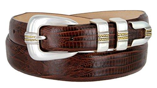 Mens Gold Norris Genuine Italian Calfskin Leather Designer Dress Golf Belt(Lizard BRN,44)