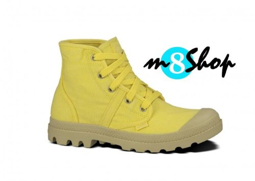 Chaussures Femme – Palladium Art. pacal0010 P701, couleur jaune, Tomaia en coton, bottine