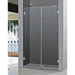 DreamLine Unidoor Lux 55 in. W x 72 in. H Fully Frameless Hinged Shower Door with Support Arm in Brushed Nickel, SHDR-23557210-04