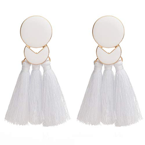 D EXCEED Statement Thread Tassel Earrings Fashion Chandelier Tassel Earrings Epoxy Fringe Earrings for Women White