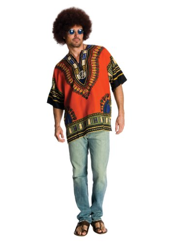 Rubie's Costume Heroes And Hombres Men's Hippie Shirt And Wig, Orange, Standard (Hippie Dress Up)