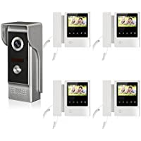 YuHan Home Wired Video Door Phone Waterpoof Doorbell 4.3 inch Monitor Audio Visual Intercom Entry Access System For House Villa 4 Monitors