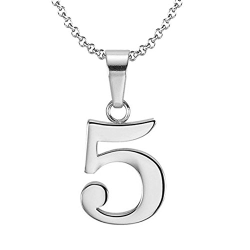 925 Sterling Silver Number 5 Charms Pendant Necklace with Chain (Five)