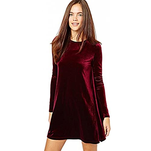 Eyekepper Womens New A-Line Loose Crewneck Long Sleeve Velvet Dress, Wine Red, Small/Petite