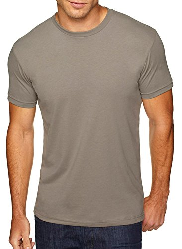 Next Level Men's Premium Fitted Sueded Crew, Warm Gray, Large
