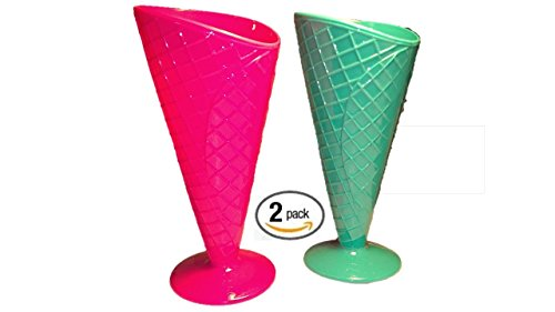 Pink Ice Cream Cone Glasses (Waffle Bowl - Rootbeer Float Glasses - Must Have Fun Ice Cream Sundae Waffle Cone Cup Set of 2 - Hot Pink and Aqua Teal - Ice Cream Dishes)
