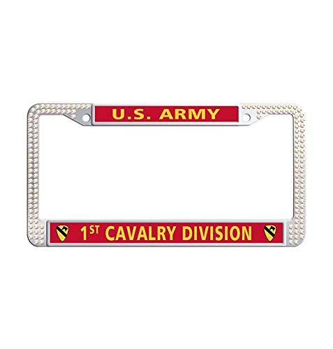 JiuzFramesUS Army 8th Cavalry Regiment Colorful Bling Rhinestones Car License Plate Frame, Glitter Crystal Diamond Waterproof Stainless Steel Slim Design Rhinestones Licenses Plates Frames