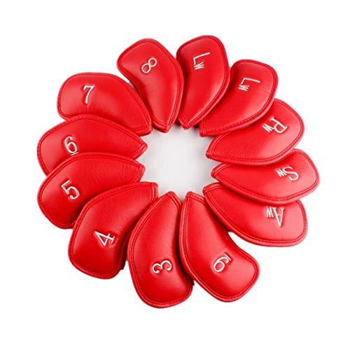 出血筋肉の存在ポンポンスポーツ アイアンカバー ゴルフヘッドカバー 高級合成皮革製 番手付き 12個セット (赤)