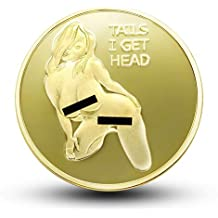 Sexy Stripper Pin Up Good Luck Heads Tails Challenge Coin - Gift for Men, Jewelry Quality