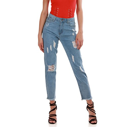 La Modeuse - Jeans Taille Haute dlav et Destroy Bleu