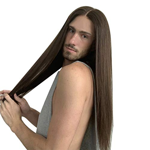 Aleola Long Hair for Men brown Wigs Party Halloween Movie Cosplay Costume Wig -