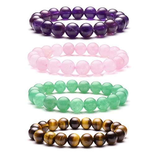 Top Plaza Natural Stone Beads Bracelets Semi Precious Gemstones Healing Crystal Stretch Beaded Bracelet(Amethyst/Tiger Eye Stone/Green Aventurine/Rose Quartz)