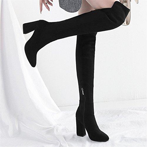 de Altas Sandalette Americana Botas y Mujer Moda de Botas y de gray DEDE Europea Botas Mujer herraduras Dark qEpE8Cxvwr
