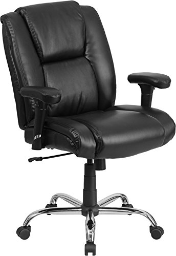 Flash Furniture Hercules Series Big & Tall Leather Swivel Task Chair with Arms, 400 lb, Black (Big Desk Chair compare prices)
