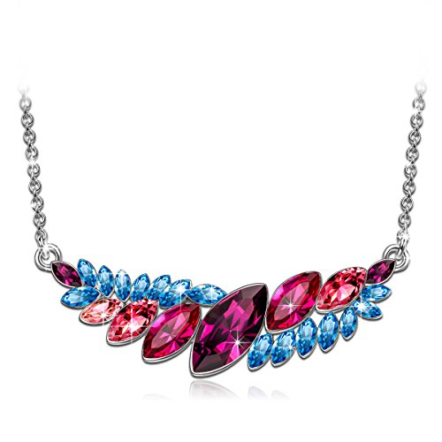 J.NINA Gift for Women with Colorful Swarovski Crystals Fiji TIME Pendant Necklace for mom Wife Mother Christmas Birthday Anniversary Jewelry for Girls Daughter Niece ()