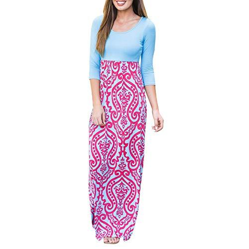 Womens Tank Top Maxi Dresses, Summer Boho Printed Empire Chevron Sleeveless Casual Beach Dresses ❤️Sumeimiya Hot Pink (Chevron Dress Pink)