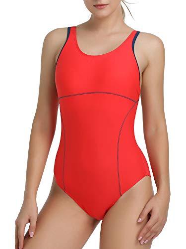 Joyaria Womens Athletic Racerback One Piece Swimsuits Traning Racing Bathing Suit Sport Swimwear (Red, Small)