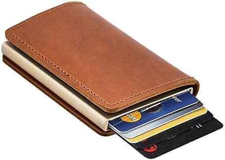 Dlife Credit Card Holder RFID Blocking Wallet Slim Wallet Cowhide Leather Vintage Aluminum Business Card Holder Automatic Pop-up Card Case Wallet Security Travel Wallet (Brown Case)