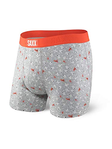 Saxx Underwear Men's Ultra Boxer Brief Grey Heather Outta This World (X-Large)