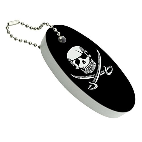 GRAPHICS & MORE Pirate Skull Crossed Swords Tattoo Design Floating Keychain Oval Foam Fishing Boat Buoy Key Float