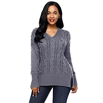 Newbestyle Women's Loose Oversize Chunky Knit Jumper Pullover Asymmetric Hem Sweater Top S-2XL - Grey - 2X-Large