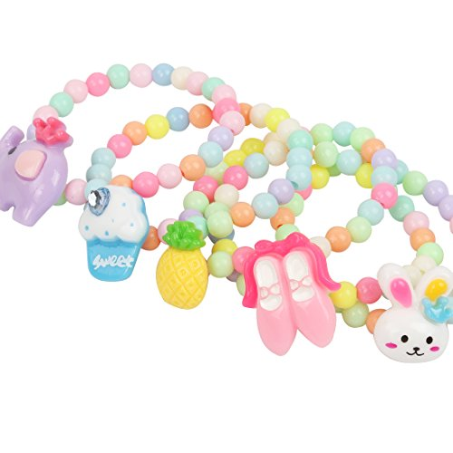 kilofly 6 Sets Princess Party Favors Girls Jewelry Rings Elastic Bracelets Pack by kilofly (Image #3)'