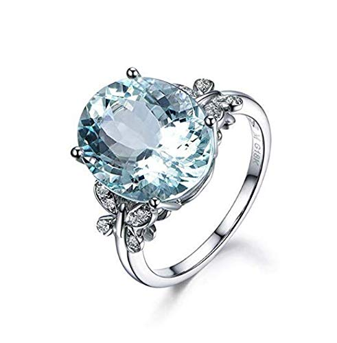 Meolin Rhinestone Butterfly Ring Natural Topaz Stone Crystal Engagement Ring Charm Gemstone Ring Women Jewelry (Size/ 6/7/8/9/10),Sea Blue,Size 8