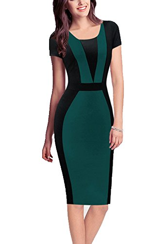 REPHYLLIS Women Vintage Summer Round Neck Business Working Cocktail Party Bodycon Pencil Dress Green M