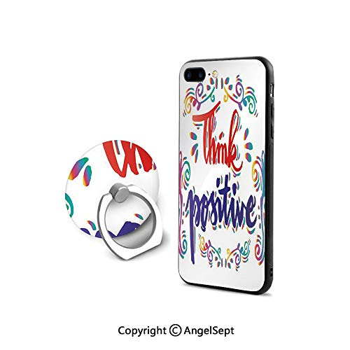 iPhone 7/8 Case with 360°Degree Swivel Ring,Think Positive Stylized Calligraphic Art Floral Swirls Optimistic Life Quote Decorative,Shockproof Protection,Multicolor (Floral Swirls Iphone)
