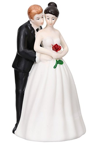 Price comparison product image Bride Groom Lovers Embrace Hand Painted Porcelain Cake Topper