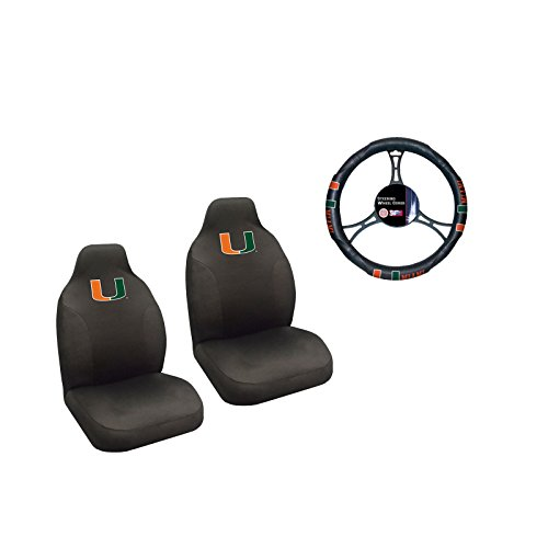 Miami Hurricanes 2 Seat Covers And Wheelcover With (Seat Miami Covers)