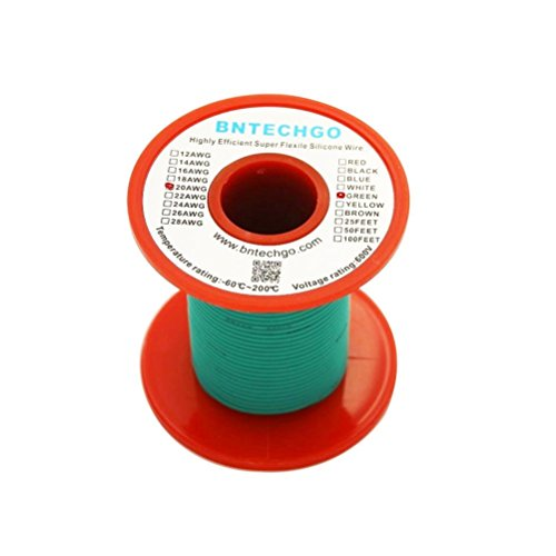 BNTECHGO 20 Gauge Silicone Wire Spool Green 50 feet Ultra Flexible High Temp 200 deg C 600V 20AWG Silicone Rubber Wire 100 Strands of Tinned Copper Wire Stranded Wire for Model Battery Low Impedance (20 Awg Leads)