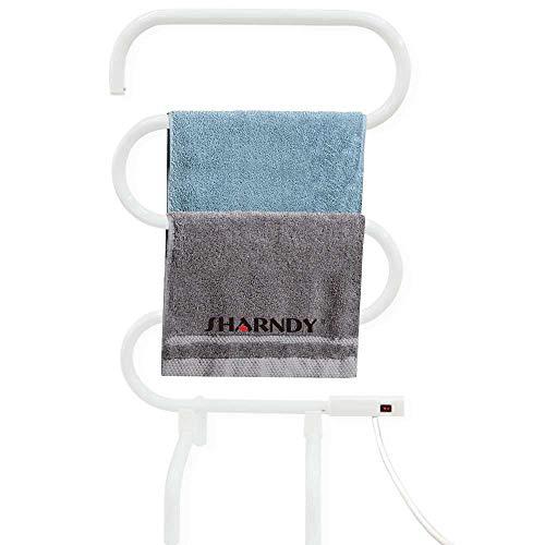 - SHARNDY Electric Towel Rails 5-Bar Bath Towel Warmer Free Standing Wall Mounted Portable Heated Towel Rack for Bathroom Plug-in 90W White