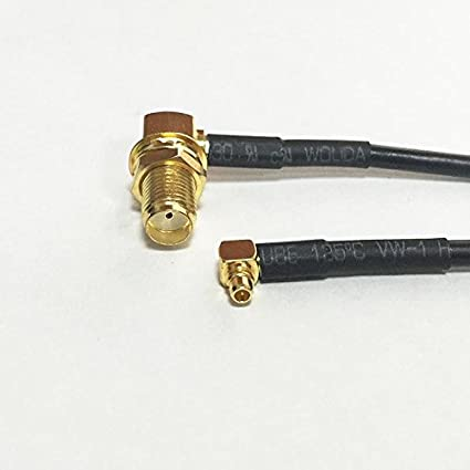 SMA female jack RA to MMCX male RF Jumper pigtail cable RG174 adapter 20CM 8""