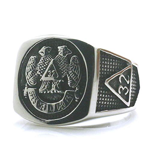 Ring Men Handmade 316L Stainless Steel - Freemason Rings For Men Cross Eagle Square and Compasse - Masonry Ring Unique Special Jewelry Gift For - Black Masons Onyx Masonic