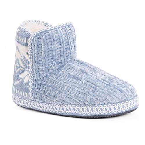 MUK LUKS Women's Karter Slippers, Blue, Large M US