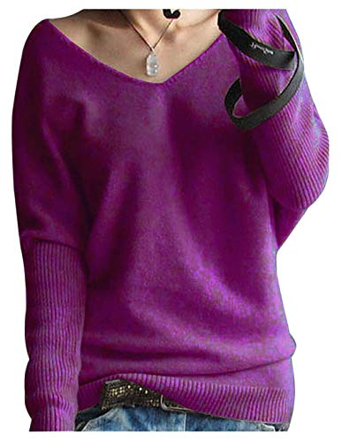 LONGMING Women's Fashion Big V-Neck Pullover Loose Sexy Batwing Sleeve Wool Cashmere Sweater Winter Tops(Violet, S)