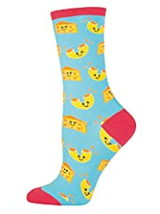 These adorable socks are made from cotton, nylon, and spandex.