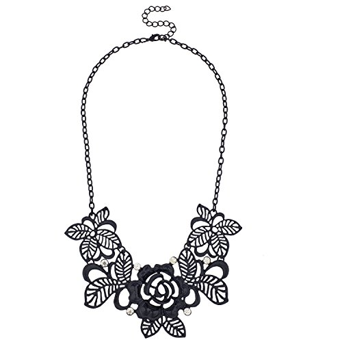 Lux Accessories Black Leaf Flower Filigree Floral Rhinestone Bib Statement Chain Necklace