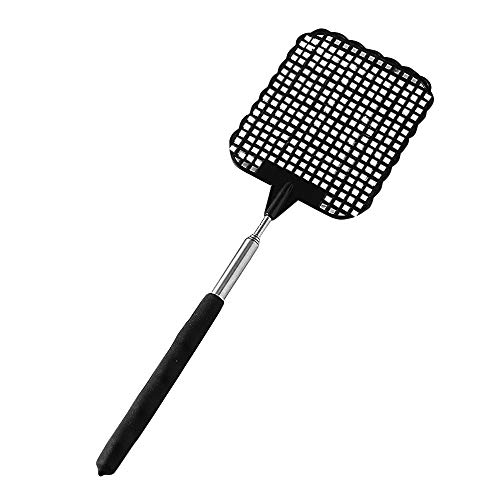 Retractable Swatter Clearance, Telescopic Extendable Fly Swatter Prevent Pest Mosquito Tool Flies Trap (black)