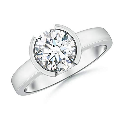 Semi Bezel-Set Moissanite Solitaire Engagement Ring in 14K White Gold (8mm Moissanite)