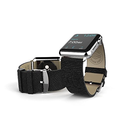 38mm Apple Watch Repalcement Band, X-Doria Lux Band, Genuine Leather, Black Leather for Apple Watch All (Watch Chrome Leather Band)