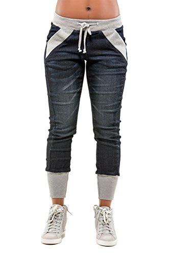 Curvy Women's Blue Knit Grey Contrast Rib Denim Jogger Pant from Poetic Justice Size Medium