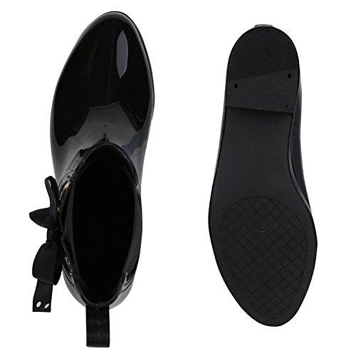 Damen Schuhe Stiefeletten Gummistiefel Lack Regenstiefel Nieten Boots Flandell Schwarz