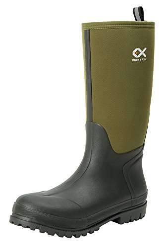 Duck and Fish Women 15 inches Fishing Hunting Neoprene Rubber Molded Outsole Knee Boot (5 M US Men / 7 M US Women, Green)