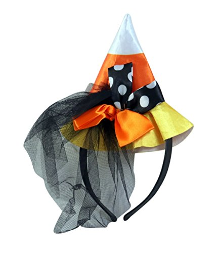 Needzo Candy Corn Witch Hat with Veil Halloween Headband, 4 Inch -